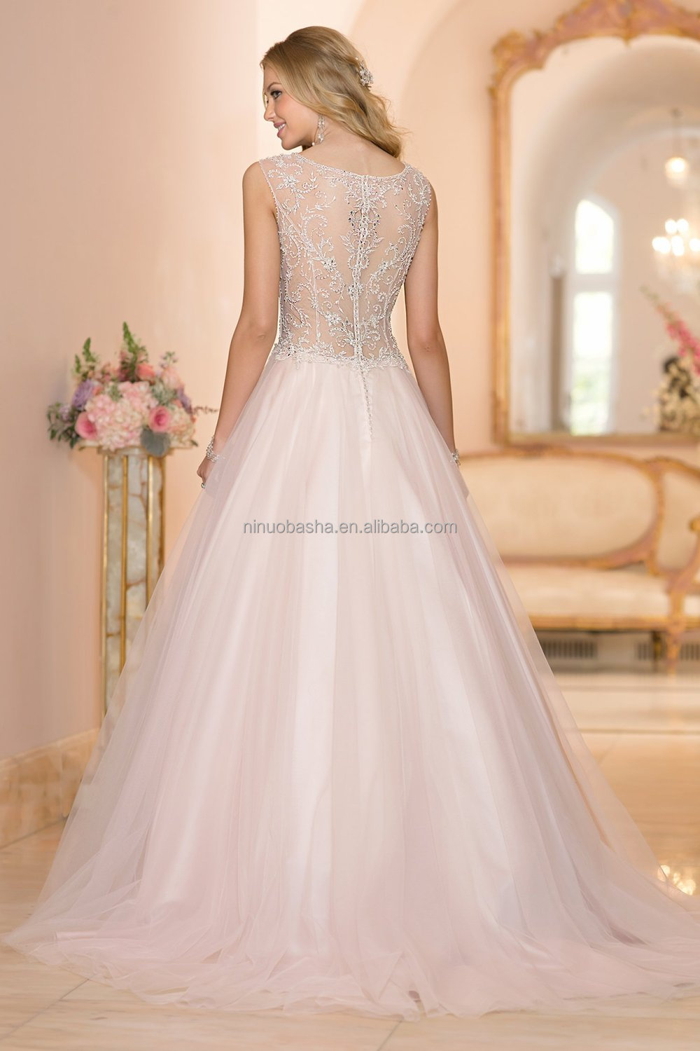 Latest Ball Gown Wedding Dress 2015 V Neck Cap Sleeve See Through Zipper Back Beaded