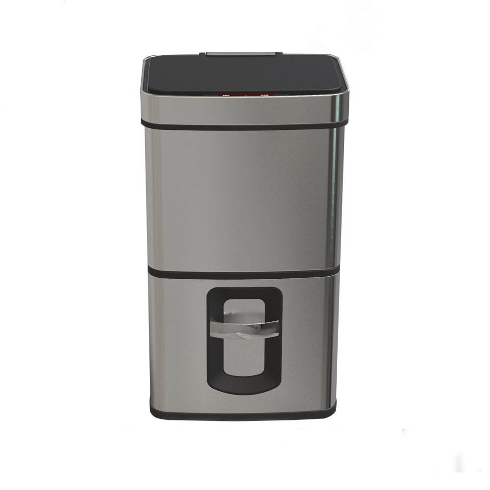 kitchen supplies 50litre square sensor trash bin with ss lid