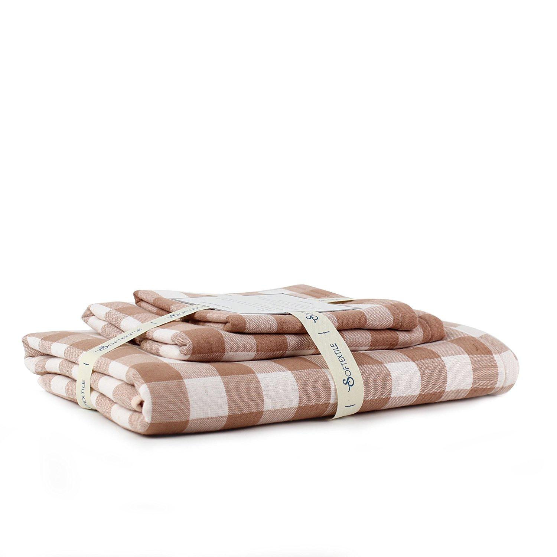 SOFTEXTILE 100% Cotton Muslin Gauze Towel Set (Brown White lattice 1 Bath Towels 1 Hand Towels & 1 Washcloths - Retro Plaid Stripe Towel