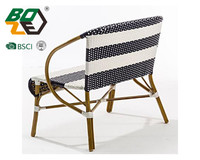 Manufacture Restaurant Knit Rattan Outdoor Patio Metal Legs Dining chair