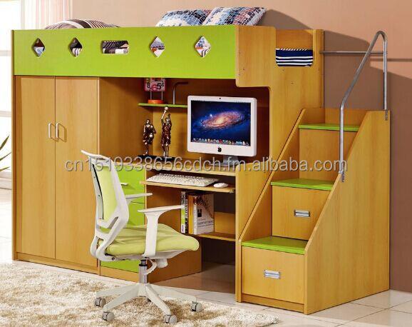 multifuncin de cama con armario empotrado y cama y escritorio comouter pvc lamenite cuerpo