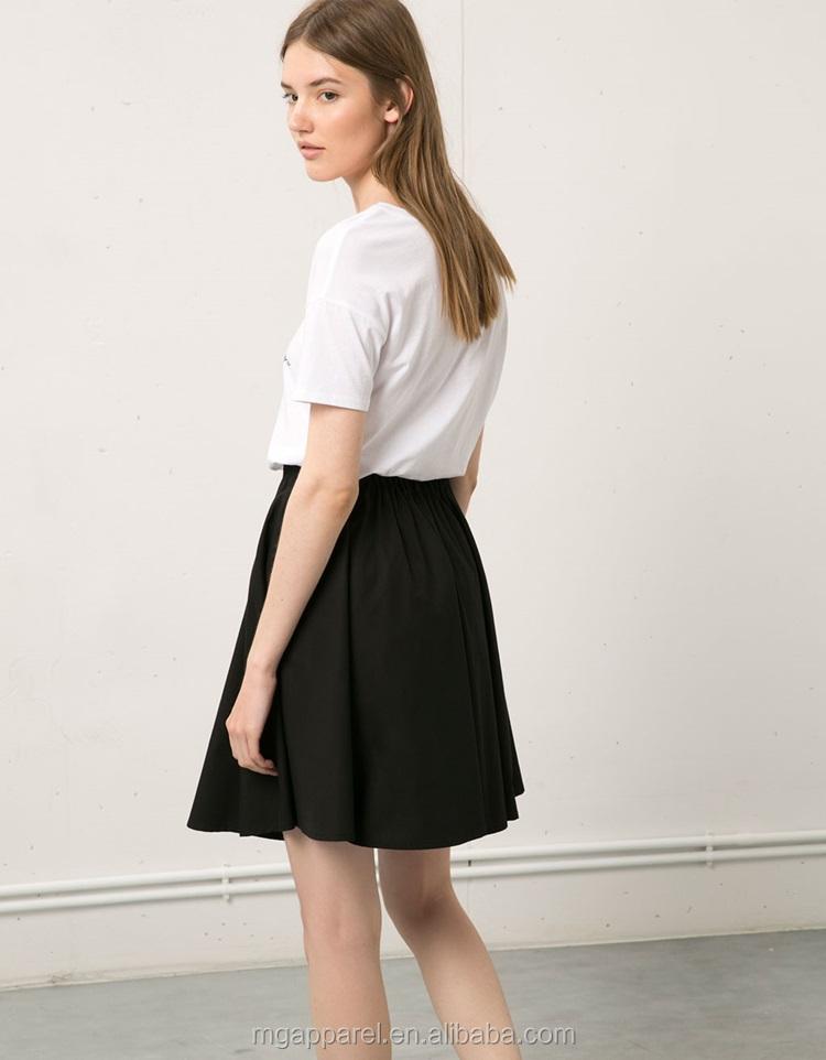 5da5e92ca4 100% Cotton flare style ladies formal knee length skirt in black plain