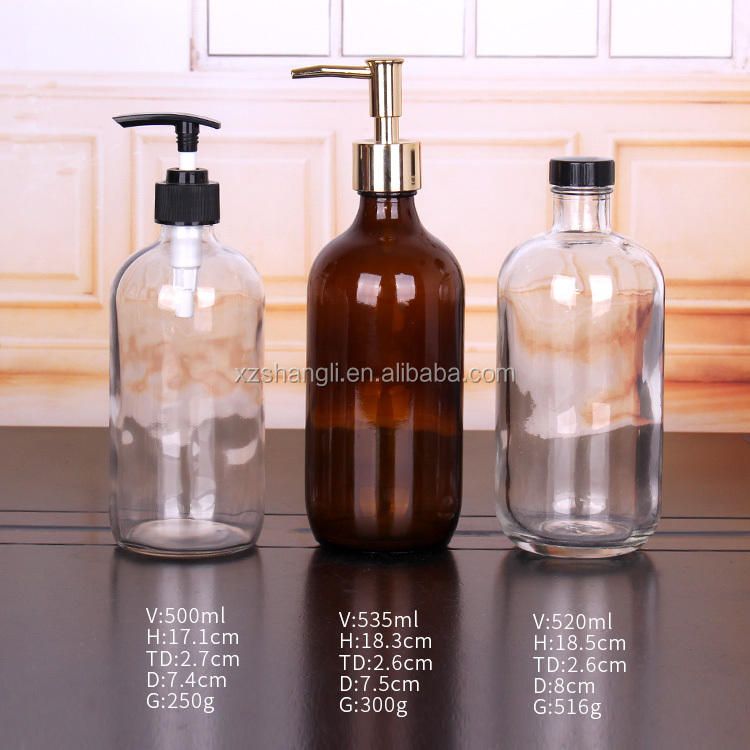 230ml 250ml 500ml Bathroom Bottle Glass Shampoo Liquid Soap Dispenser