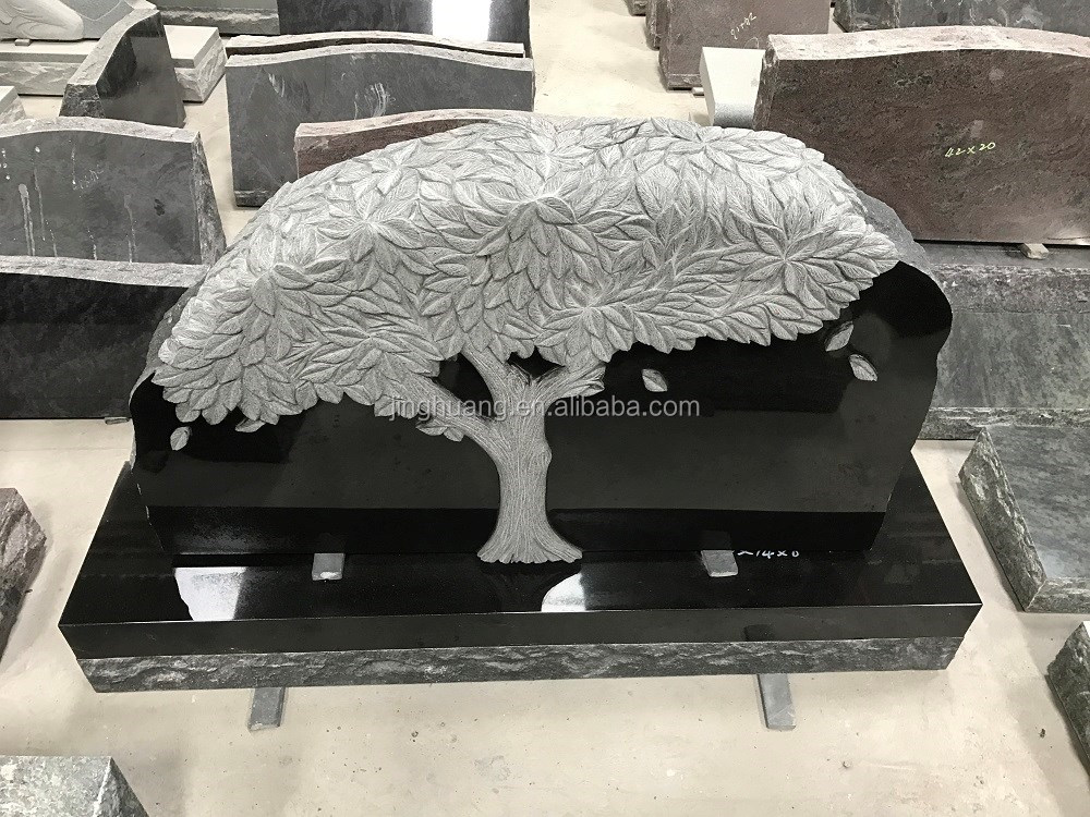 Cheap black polished granite headstone with tree decoration