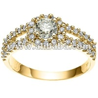 0.37 CT White Diamond 14K Solid Yellow Gold Ring