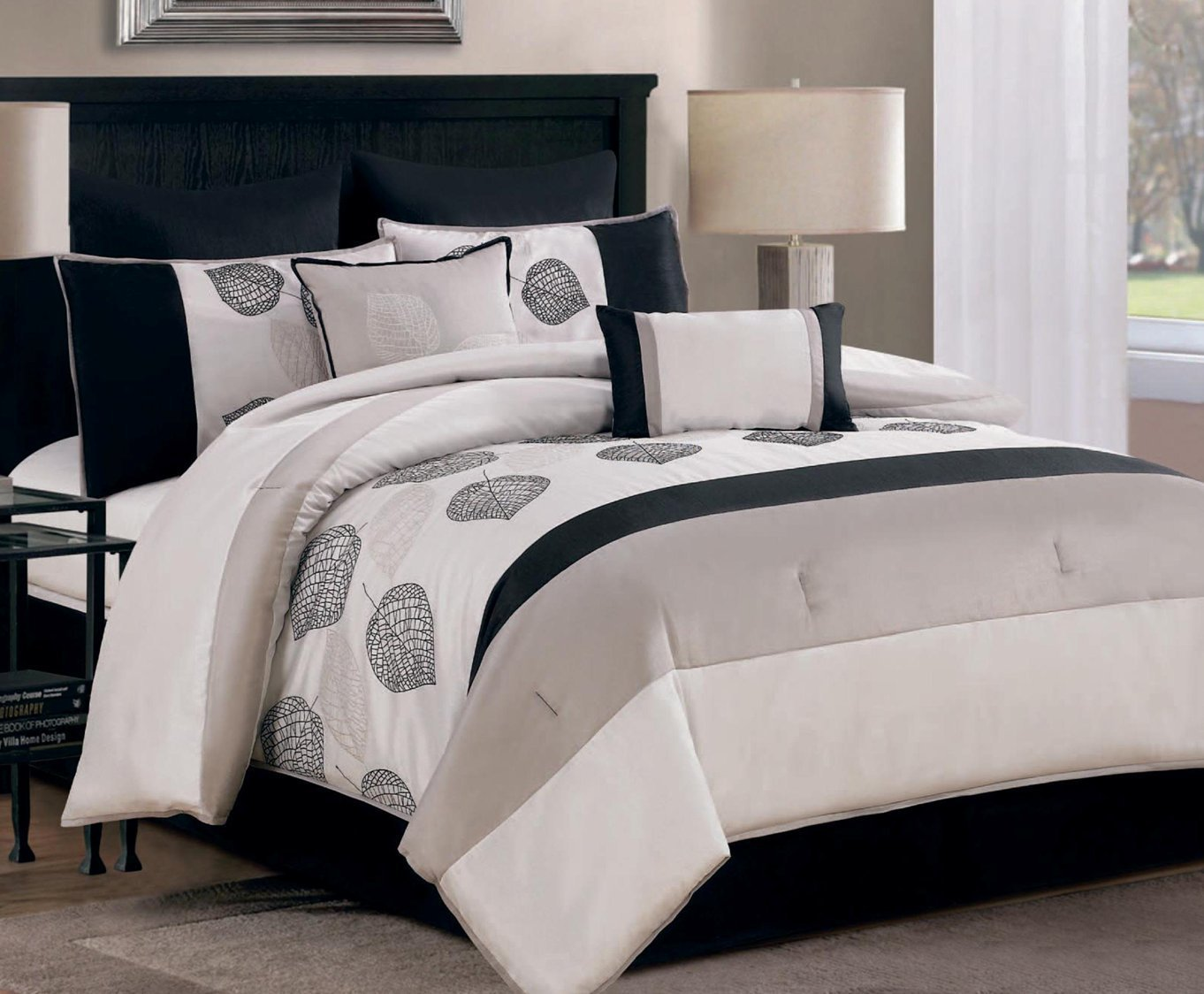 Get Quotations · King Comforter Embroidered Bedding Set, Black, Taupe And  Cream Leaves   8 Piece