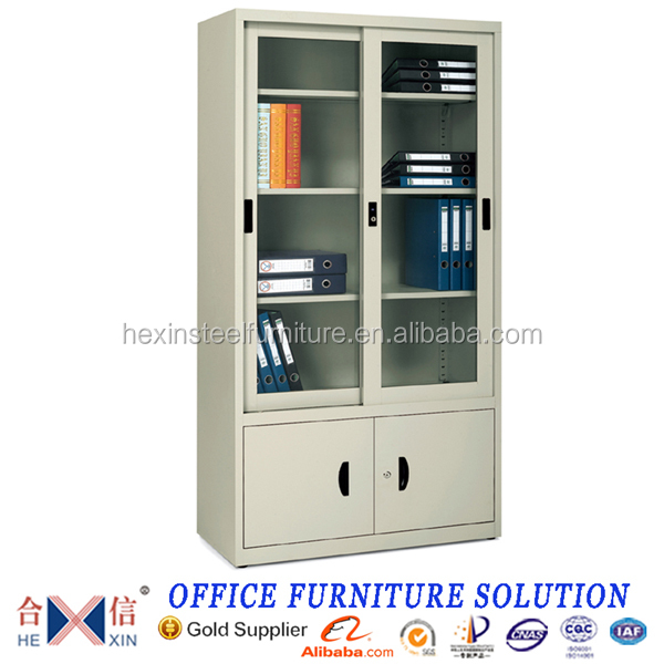 Chinese Factory Knocked-down Steel Sliding Glass Door Bookcase