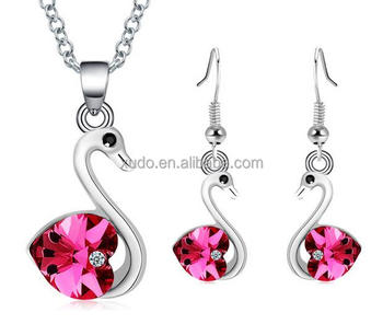 free shipping crystal jewelry set crystal swan pendant necklace earring set