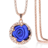 Latest Arrival Elegant Crystal Pendant Necklace Women Jewelry Real Rose Flower Necklace