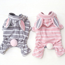 Ruby Ear Rabbit Print Striped Dog Jumpsuits Rompers Pet Clothes For Dogs