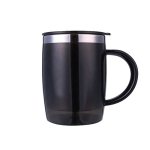 Wholesale Popular Unique Inner Stainless Steel Black Mug Printed White Sublimation Camping Mug Brand Oute Plastic Travel Cup