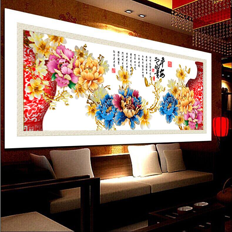 3D Diy diamond painting colorfull Peony home decoration round resin cross stitch kit diamond embroidery home decor