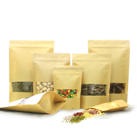 Dry Food Packaging Stand Up brown/ white Kraft Paper Bag with window and zipper wholesale12X20+4CM