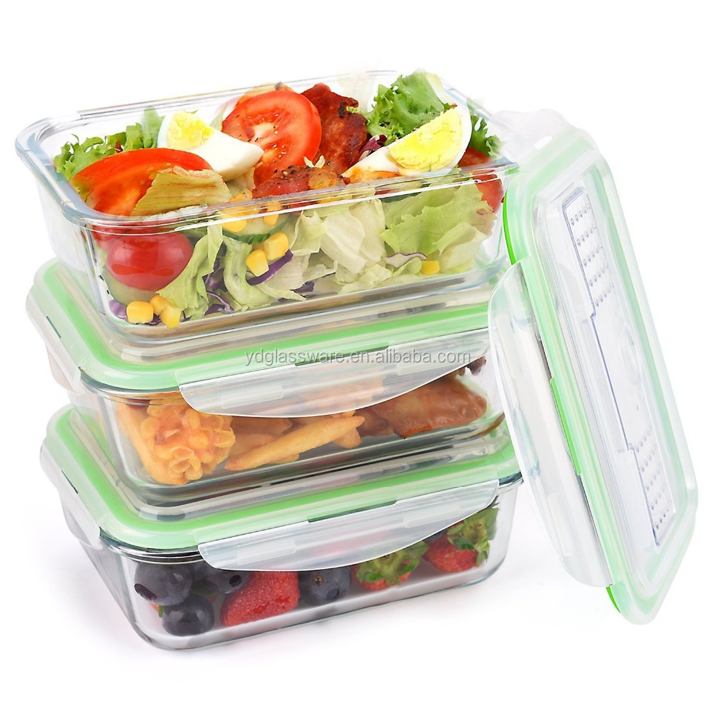Borosilicate Glass Storage Food Container/Bento Lunch Boxes with plastic lid can put fork and spoon