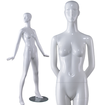 Modern store retail shop window display sexy nude mature glossy white resin female model poses dummies mannequins for sale