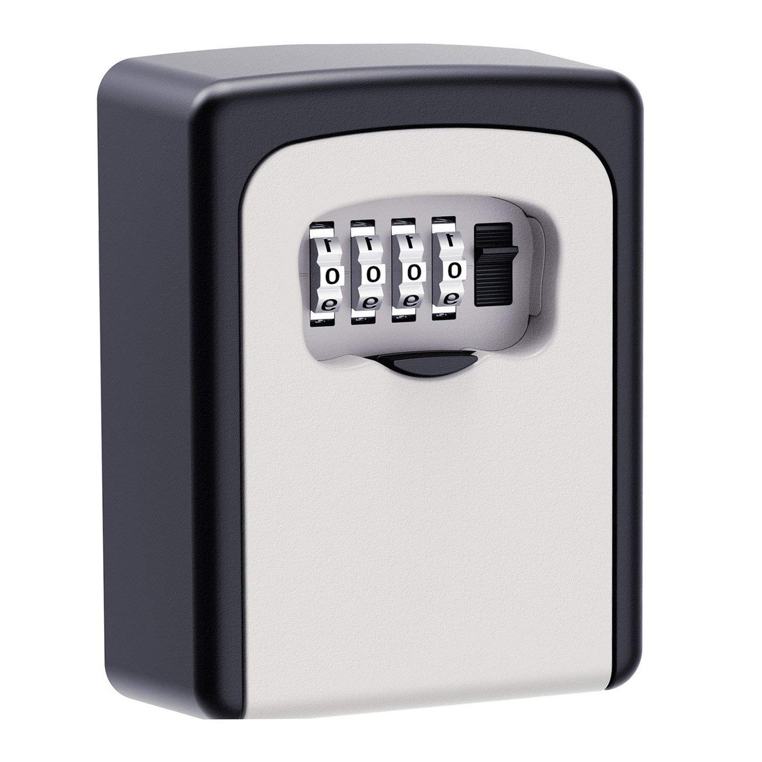Search For Flights Key Lock Box Wall Mounted Aluminum Alloy Key Safe Box Weatherproof 4 Digit Combination Key Storage Lock Box Indoor Outdoor Kleidung & Accessoires