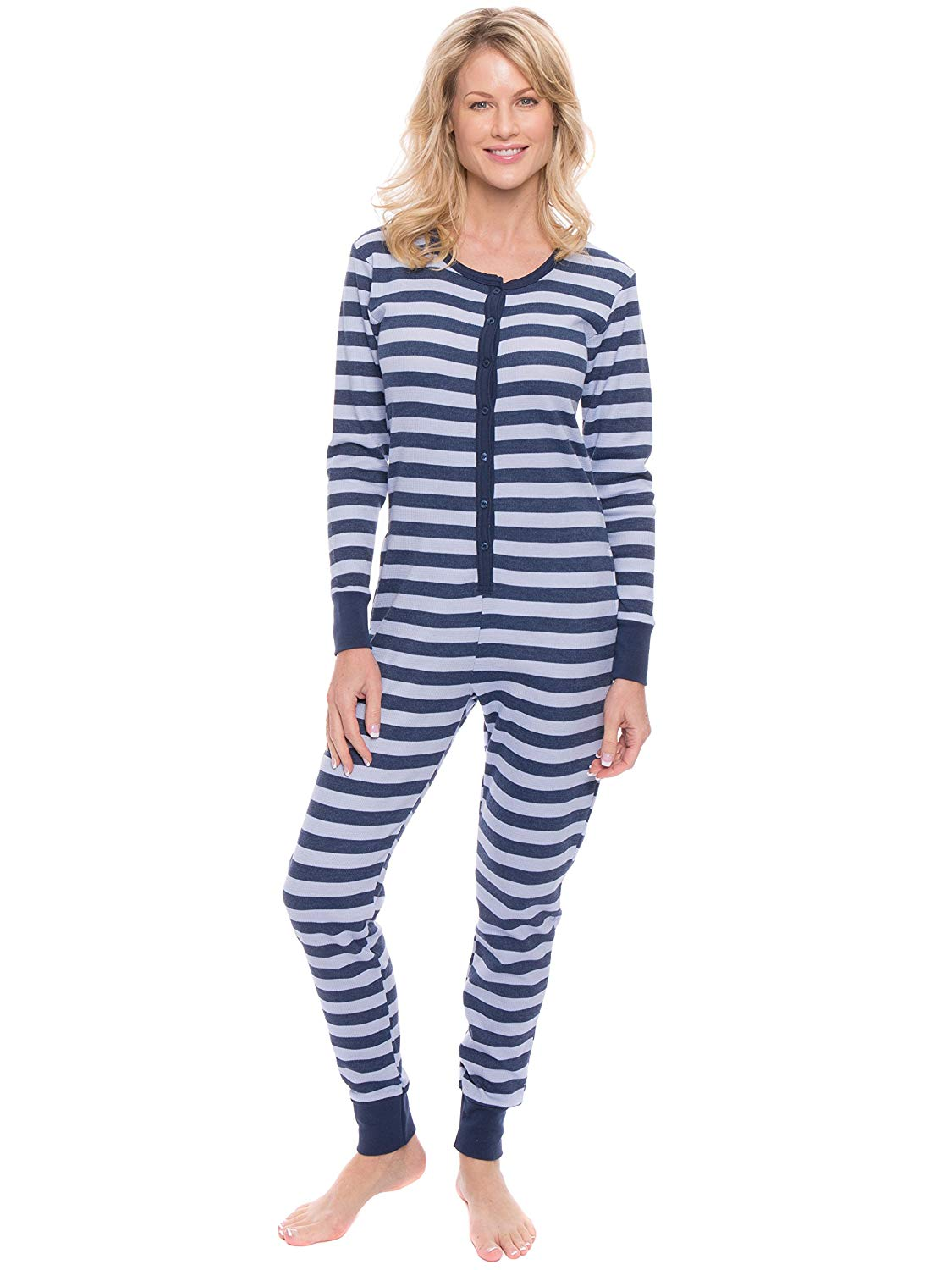 Get Quotations · Noble Mount Women s Waffle Knit Thermal Onesie Pajama fb965b558