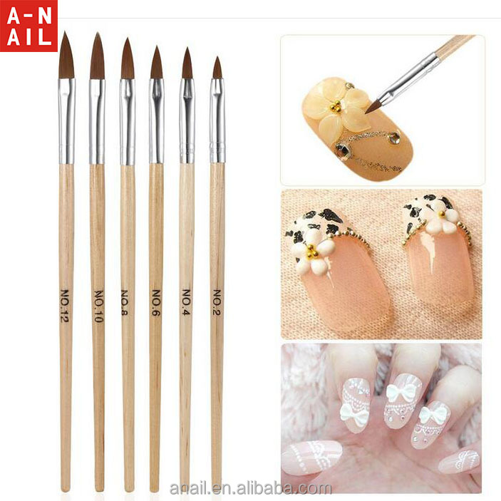 High Quality 6 Pcs Nail Art Brush Classical Acrylic Kolinsky Nail Art Brush with wooden handle Painting 3D Nail Art Brushes