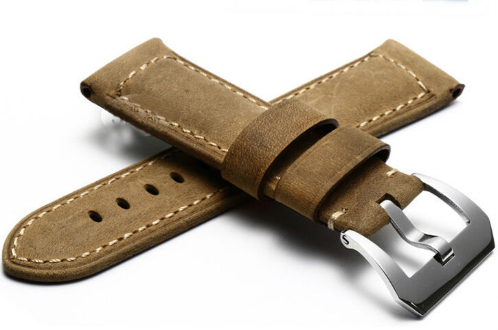 Handmade Leather Watchbands, 24MM/26MM Brown Calfskin Watchbands, For Panerai Retro Strap, Fast Delivery