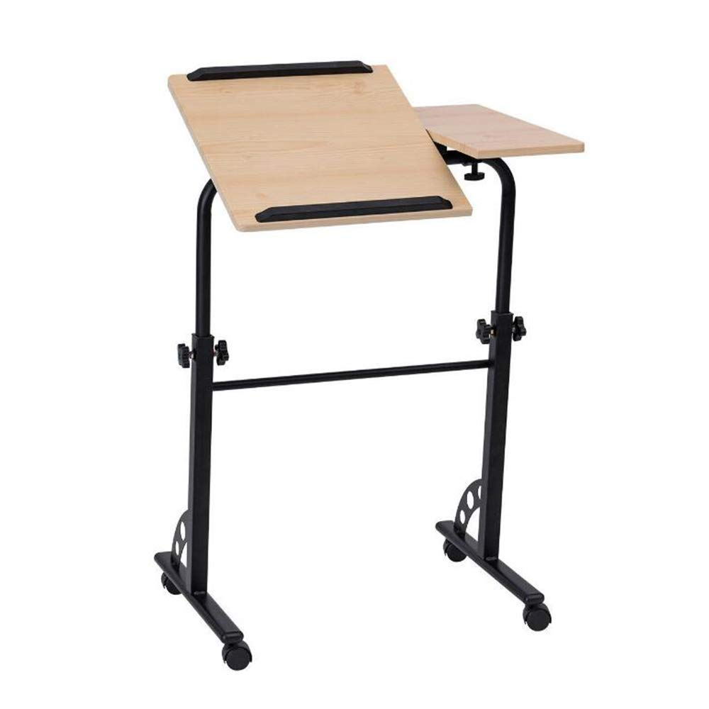 Stands DD Tilting Wooden Rolling Laptop Desk Cart Side Table Right Left-Handed, Adjustable Computer Workstation Lockable Wheels Sofa Bed Home Office, Convenient Table