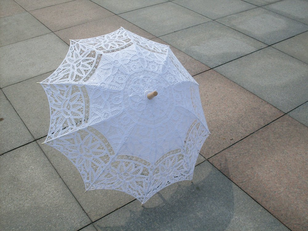 Handmade White Battenburg Lace parasols