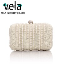 Ladies Pearl Beaded Evening Bag Women Clutch Purse Bridal Wedding Party Bag