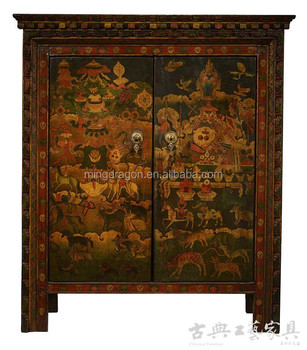Antique Tibetan Carving Furniture Hand Painted