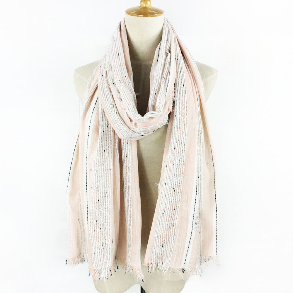 Exquisite Dots Stripe Tassels Long Cotton Fringe Scarf