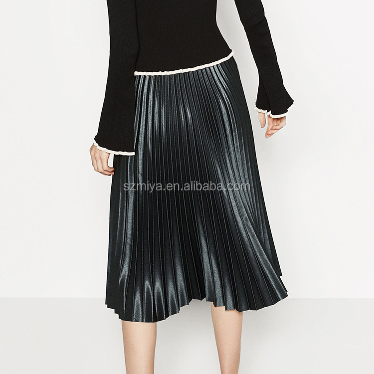 Lastest Fashion Ladies Skirts Solid Bright Color Shinny Pleated Skirt
