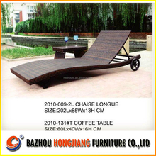 Fresh Style Patio Rattan Sun bed With Coffee Table Outdoor Wicker lounger With Wheel Set