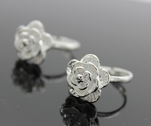 Fashion Silver Color Ring Big 3D Blooming Rose Flower Open Ring For Women Girl 925 Sterling Cheap wholesale Plant jewelry