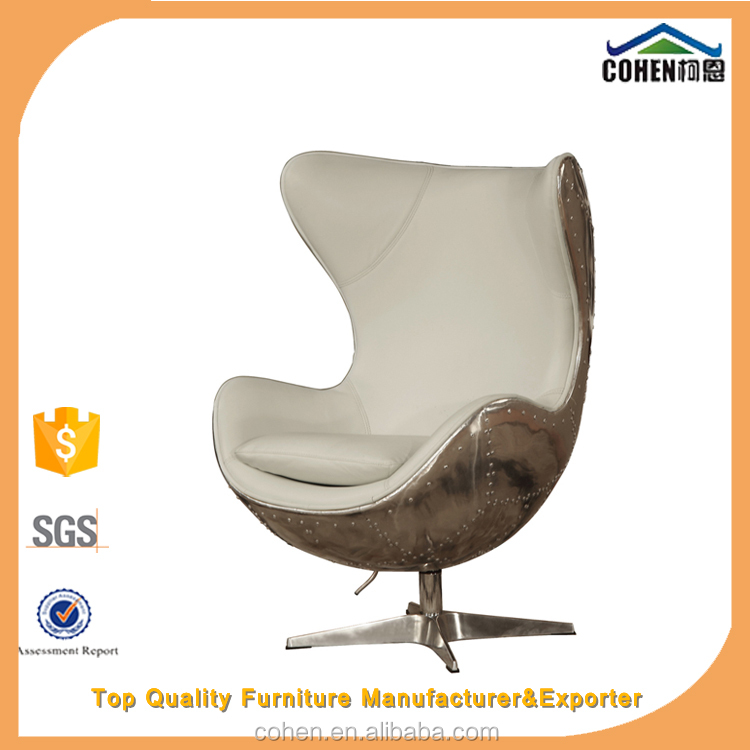 Luxury white top grain leather leisure chair/egg chair with aluminium coating back swivel bar chair