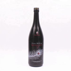 Frosted black color bordeaux dry red wine glass bottle