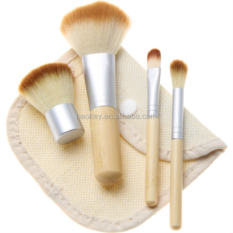 Fashion 4pcs/set 4 pcs BAMBOO Portable Makeup Brushes Make Up Make-up Brush Cosmetics Set Kit Tools