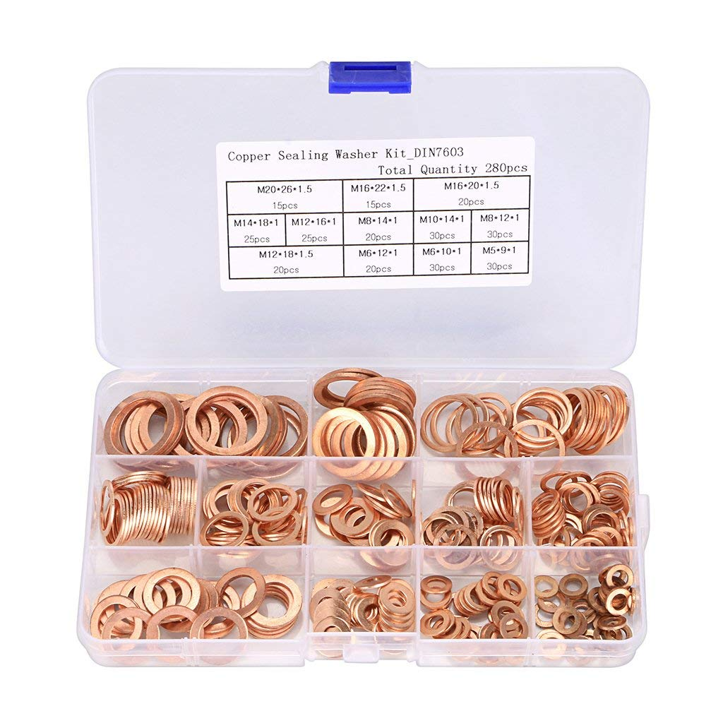 OwnMy 280Pcs 12 Sizes Brass Flat and Lock Washers Assortment Metric Ring Copper Crush Sealing Washer Gasket with Box - Size Includes M5 M6 M8 M10 M12 M14 M16 M20