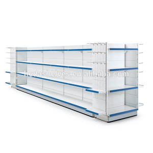 Double-side grocery super shop rack retail shelving display systems
