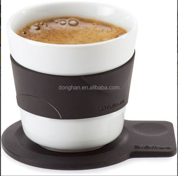 porcelain coffee set with sleeve and cushion