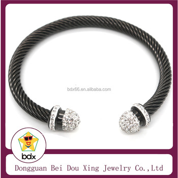 Polished Silver Cap End Black Plated Twisted Cable Wire Stainless