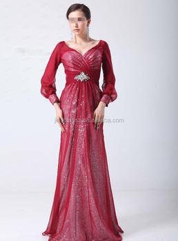 Arabic Chiffon Long Sleeves Muslim Evening Dress #oe173