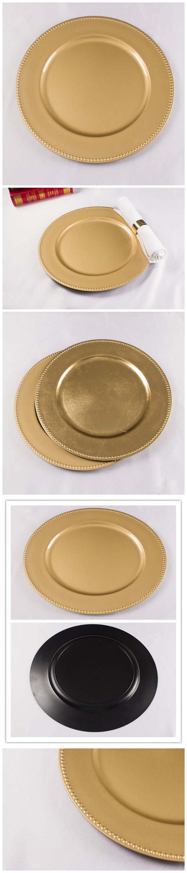 Fancy beaded rim gold wedding wholesale charger plates buy wholesale