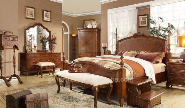 Modern Solid Teak Wood Bedroom Furniture Set