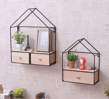 Double Drawers Wall Hanging Iron Art Wooden Shelf Locker Cabinet Wood Product On