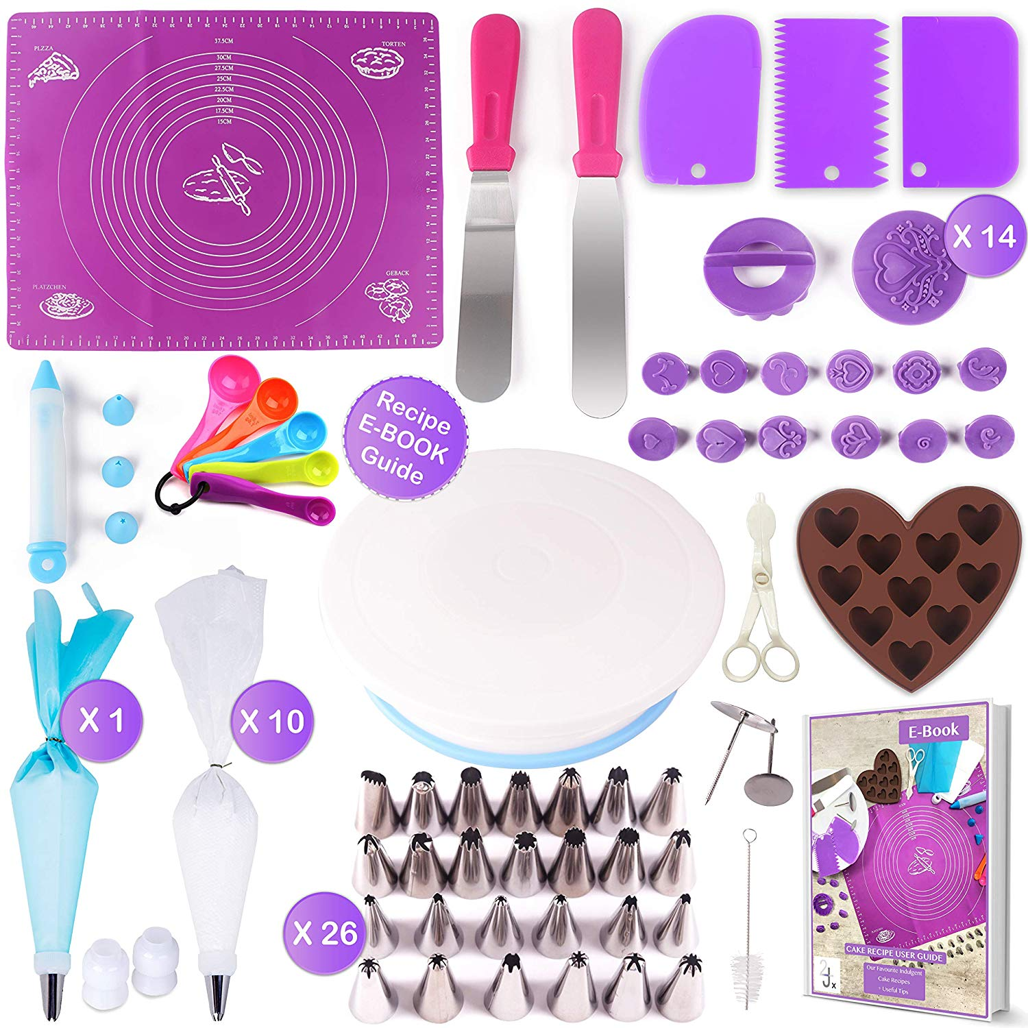Cake Decorating Supplies Kit For Beginners 73 Pcs | Rotating Turntable Stand, Baking Mat, Cupcake Pastry Fondant Cutters | 26 Pcs Frosting Icing Piping Tips + E-Book | Birthday, Wedding | HalcyonXware