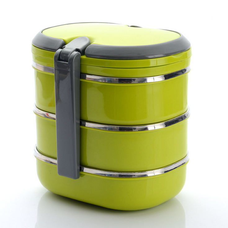 Colorato In Acciaio Inox Triple-Strato di Isolamento di Tiffin Lunch Box