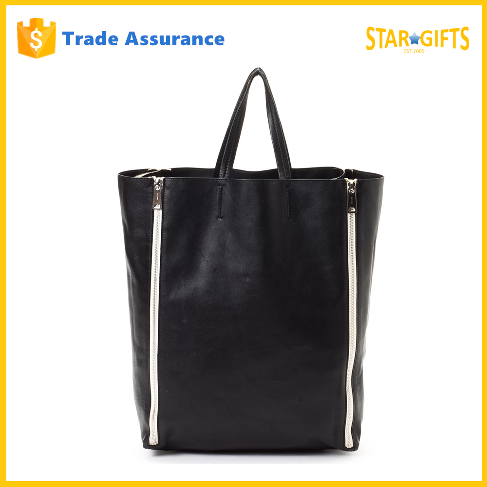 Custom Waterproof Extra Large Black PU Leather Men Tote Bag
