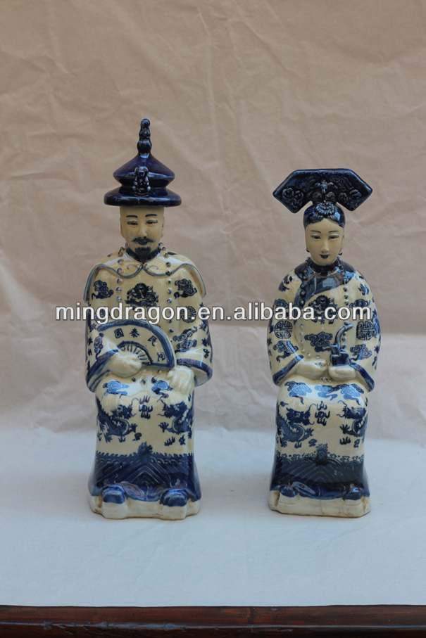 Chinese antique blue and white ceramic figure sculpture