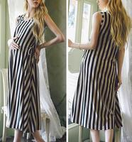 M484 dingyang Fashion 2016 striped pregnant women dresses stiped sleeveless maternity maxi clothes