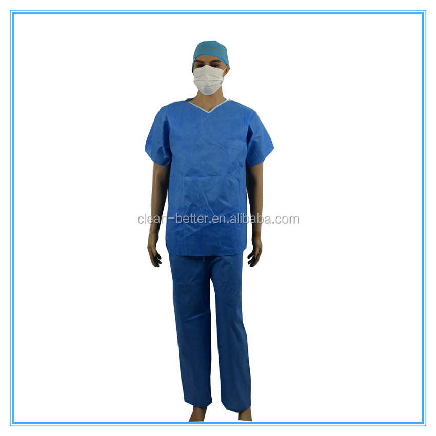 non-woven disposable blue surgeon gown and scrub suit