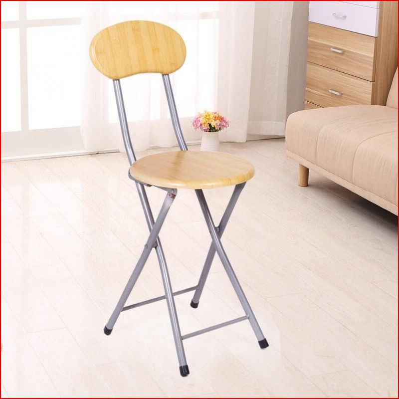 Small Lightweight Round Folding Stool With Back Support Modern Metal Folding