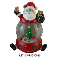 resin cheap christmas snow globe wiht blowing snow